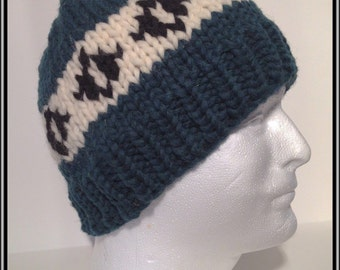 """Vintage Canadian Style Wool Toque """"Ovals"""""""