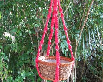 Raspberry 40 Inch No Beads Macrame Plant Hanger