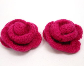 Felted Rose Hair Clips, girls flower hair decoration set of two