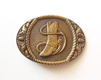 Western Brass Buckle Vintage Sunset Brass Belt Buckle Solid Brass Oval Buckle Hook Type Cowboy Theme Boot Lasso Rope Acorn Oak Leaves