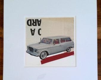 Original collage, vintage paper collage, typography, vintage car, retro station wagon