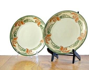 1910s PL Limoges France Arts And Crafts Era Home Vintage Dinnerware 2 Salad Plates Antique Craftsman Dishes Mission Sideboard