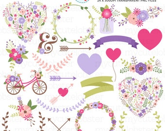 Floral Wedding Collection Clipart Set - flowers clip art, floral wreaths, hearts - personal use, small commercial use, instant download