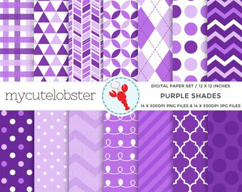 Purple Shades Digital Paper Set - chevron, stripes, polka dot, patterned paper - personal use, small commercial use, instant download