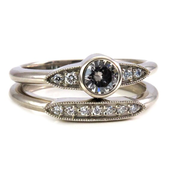 Art Deco Grey Diamond and Tiny Diamond Engagement Ring Set