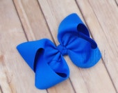 Large electric blue hairbow, girls hair bows, girls hairbows, jumbo hair bows, boutique style, twisted boutique bow