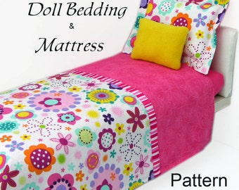 American Girl Doll Bedding and Mattress PDF pattern and tutorial Fits any size doll bed