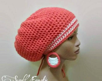 MADE TO ORDER Terracotta Orange and Cream/ off white Slouch hat/dreadlock hat w free crochet earrings and flower clip/ drawstring adjustable