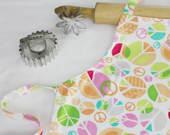 Peace Signs on White Child Apron