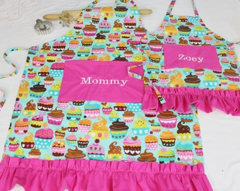 Personalized and Ruffled Teal Sweet Cupcakes Mother Daughter Aprons with hot pink pockets and ruffle - made to order