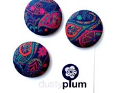 Liberty of London Fabric Covered Button Magnets Super Large 38mm x Paisley Pinks and Purples