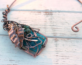 Wire Wrapped Necklace Open Necklace Necklace Agate Necklace Copper Wire Wrap Jewelry Torque Necklace Collar Necklace Wire Wrap Jewelry