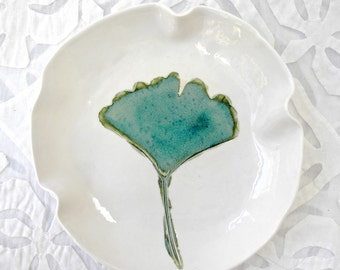 Ginkgo Leaf Dish, Small bowl, Serving Bowl, Jewelry Dish, Decorative bowl, Leaf Bowl, Teal White Bowl, Botanical Decor, Small Serving Bowl