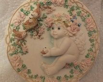 1995 Dreamsicles Heaven's Little Helper Sculptural Collector Plate By Kristin Hamilton Collection Special Friends
