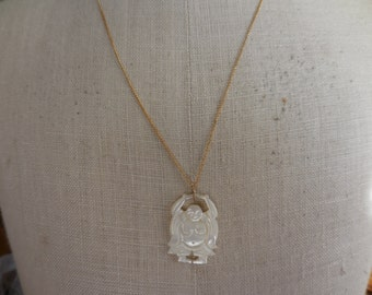 Vintage 1960s to 1970s Gold Filled Chain and Carved Mother of Pearl Budha MOP Shell Necklace Asian Inspired