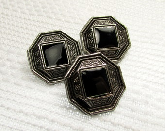"""Antiqued Octagons: 13/16"""" (21mm) Antiqued Silver Buttons - Set of 3 Matching Buttons"""