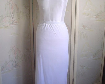 Vintage Half Slip Long White Heavy Nylon Tricot 1970s Small