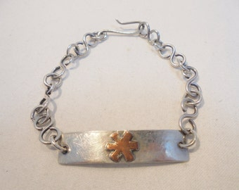 Vintage Sterling Silver Medical ID Bracelet 10 Grams Signed 925 Lupus Coumadin Retro Art Deco Abstract