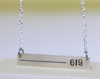 Thin Blue Line Badge Number necklace for Police wives. Custom law enforcement personalized with number & blue line. Rectangle bar pendant