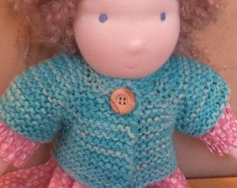 Organic Cotton Sweater for 16-inch Waldorf Doll  Hand Knit Cardigan Sweater for Waldorf Dolls  **Slushie**