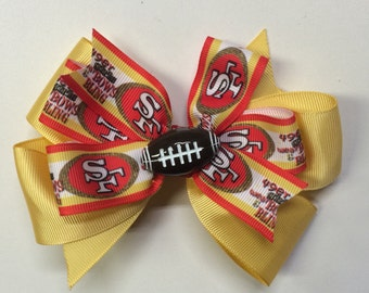 San Francisco 49ers NFL Football Hair Bow Clip Stacked Bow