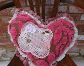 Vintage Chenille Pillow,Heart Shaped Pillow,Victorian Pillow,Romantic Pillow,Shabby Chic Pillow,by Nine Muses Of Crete
