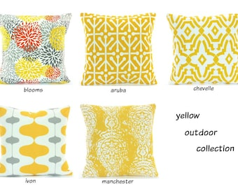 Yellow OUTDOOR Throw Pillow COVERS Beach Decor Yellow White Coastal Cushion All SIZES Patio Cottage Pillow Couch Pillow Yellow Outdoor