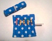 Turquoise and Dots Party Favor, Turquoise Crayon Roll, Party Favor For Kids, Kids Party Favor, Crayon Roll, Crayon Roll Up, Turquoise Dots