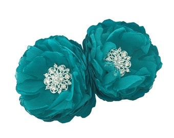 Oasis Teal Satin and Chiffon Flower with Crystals - Hair, Shoe Clip, Brooch Pins, Comb For Bridesmaid, Bride, Special Event - Photo Prop Ana