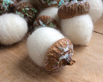 12 White Felted Holiday Acorns Bowl Fillers Needle Felted Nature