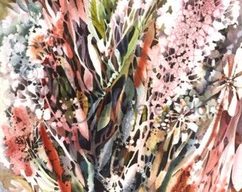 "Hydrangea Flower Bouquet, Patio Garden, Fuchsia, Pink, Green, Violet, Indigo Blue, Watercolor Painting Wall Art Home Decor, ""Hydrangea"""