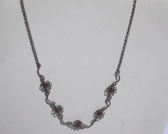 Sterling Necklace with Garnet Color Beads