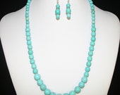 "Necklace & Earring Set, 20"" long, Blue Turquoise Beads, Silver Spacers"