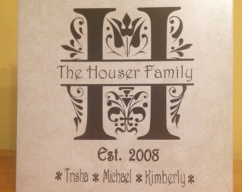 Monogrammed Tile -  Customized Tile - Personalized Wedding Tile - Custom Anniversary Gift - House Warming - Personalized Couples Gift
