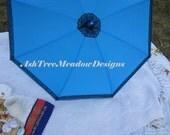 Electric Blue Parasol with Black Lace, Rain or Shine, Prepared, Matching Parasol, Matching Umbrella, Parasol, Victorian Parasol,