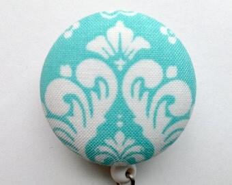 Aqua Badge Reel - Damask Badge Holder - Retractable ID Reel - Classic Design - ID Badge Holder - Name Badge - Nurse Gift - Fabric Badge Reel