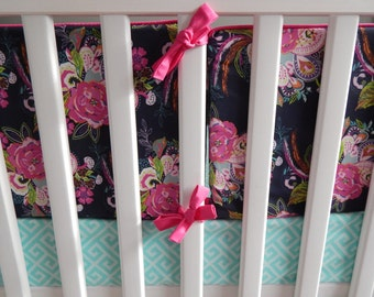 Design Your Bedding - Navy, Pink, Aqua Floral Paisley with Feathers changing pad cover, rail covers, pillows, sheets, skirts, bumpers