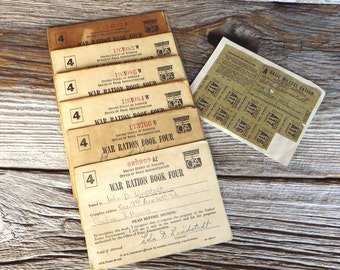 World War 2 Ration Books 6 War Ration Book 4 Plus Basic Milge Ration Card 1940s United States Office of Price Administration