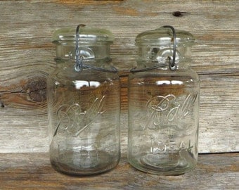 2 Ball Ideal Canning Jars with Wire Bale Tops 1940s Housewares Farmhouse Kitchen Storage Glass Canning Jars