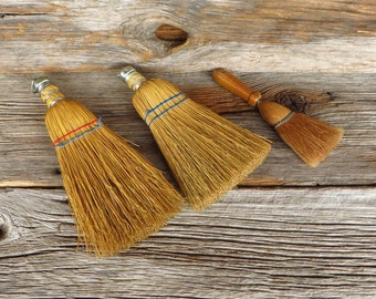 3 Whisk Brooms Natural Bristles Primitve Home Decor Farmhouse Rustic Straw Brooms Cabin Decor