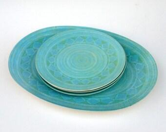 Vintage Melmac Dishes: Melamine Platter, Aqua Plastic Plates, Apollo Ware Melmac
