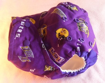 SassyCloth one size pocket diaper with LSU Tigers purple cotton print. Ready to ship.