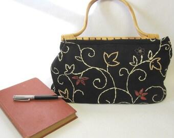 St. John's Bay Black Purse Wood Handle Satchel Handbag
