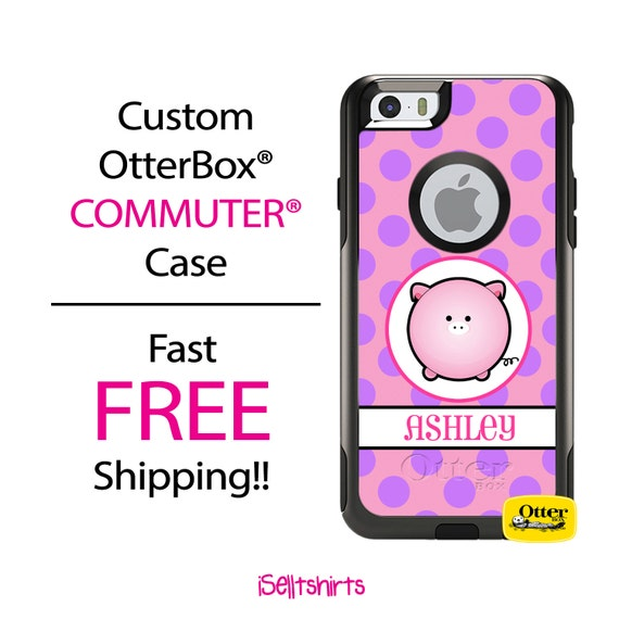 iPhone OtterBox Commuter Case for iPhone 7, 7 Plus, 6/6s, 6 Plus/6s Plus, 5/5s/SE, 5c Galaxy S7 S6 S5 Note 5 Monogram Pig Piggy Polka Case
