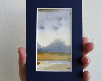 Miniature, abstract landscape, original watercolor painting on acid free paper