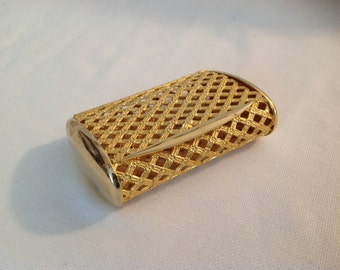 Vintage gold plated lattice purse case