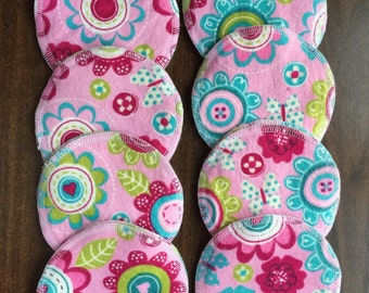 Nursing pads/Facial Wipes 8 sets  (16 total) made with 4 layers of 100% cottlon flannel