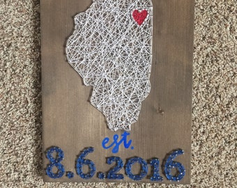 Made to order state string art with date
