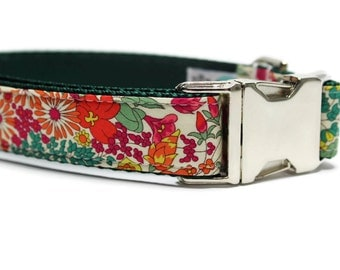 Dainty Floral Dog Collar with Metal Buckle | Floral Dog Collar | Unique Dog Collar | Liberty of London Fabric Dog Collar