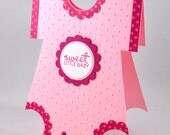 Baby Girl Onesie Greeting Card, Pink, Rose, White, Polka Dots, Cute, Adorable, Sweet Little Baby, Baby Shower, New Baby, Welcome Baby